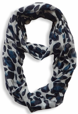 Two Tone Animal Print Infinity Loop Scarf (White)