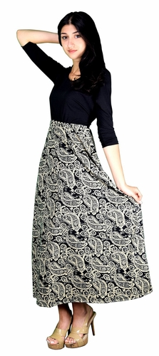 Two Toned Paisley  Self Tie ¾ Sleeve Waist Belt Maxi Dress (Cream)