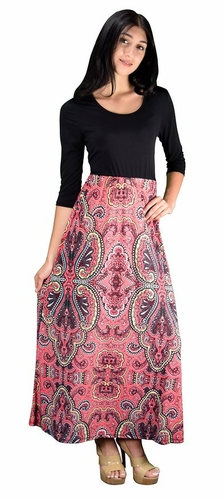 Two Toned Paisley  Self Tie ¾ Sleeve Waist Belt Maxi Dress (Pink)