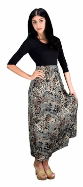 Two Toned Paisley  Self Tie � Sleeve Waist Belt Maxi Dress (Tan)