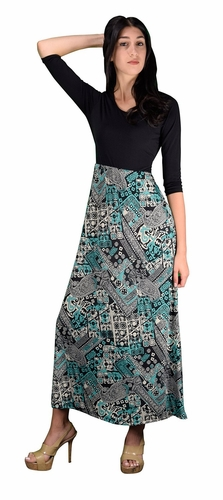 Two Toned Paisley  Self Tie ¾ Sleeve Waist Belt Maxi Dress (Teal)