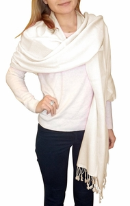 Ultra-Soft 100% Cashmere Wrap  (Off White)