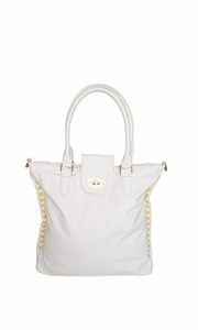 VALENTINA Top Handle Slouchy Hobo Hand Bag Office Style Tote Purse (White)