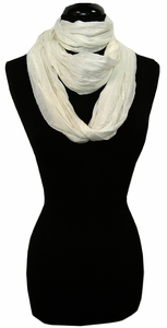 Very Soft and Light New Fashion White Infinity Loop Circle Scarf