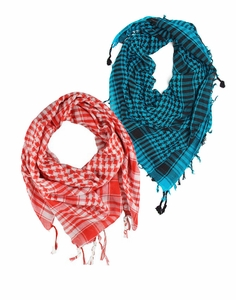 Very Soft Unisex Shemagh Houndstooth Scarf  2 Pack Scarf Set (Turquoise/Red)
