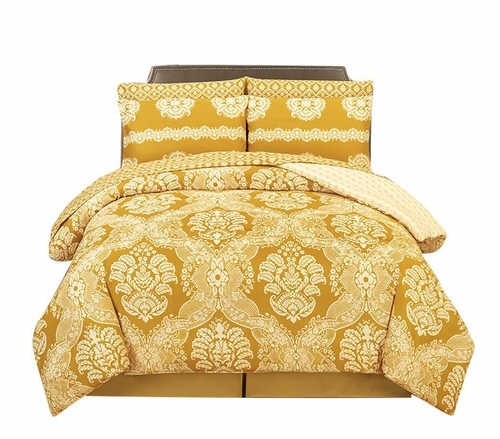 Vibrant Luxurious Super Fine Damask Printed Boho Reversible Soft Comforter 4 Piece Set (King, Memories Gold)