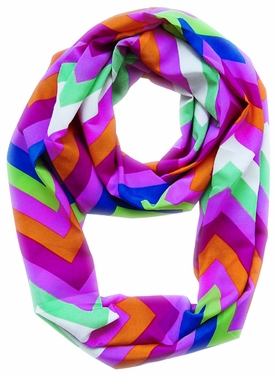Vibrant & Silky Feel Fuchsia Chevron Multicolored Infinity Loop Scarf