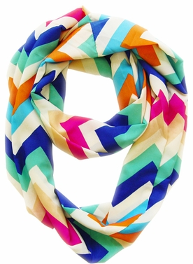 Vibrant & Silky Feel Green Chevron Multicolored Infinity Loop Scarf