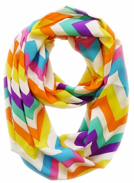 Vibrant & Silky Feel Purple Chevron Multicolored Infinity Loop Scarf