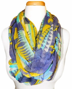 Vibrant Tribal Geometric Lightweight Infinity Loop Scarf (Blue/Yellow)