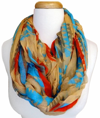 Vibrant Tribal Geometric Lightweight Infinity Loop Scarf (Tan/Blue)