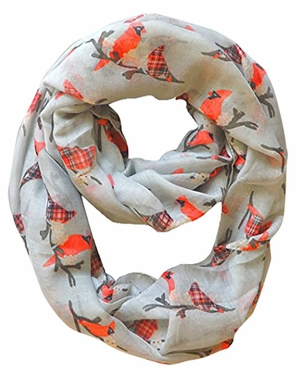 Beautiful Vintage Bird Print Scarf Infinity Loop (Grey)