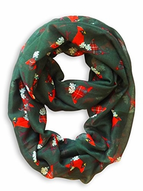 Beautiful Vintage Bird Print Scarf Infinity Loop (Hunter Green)
