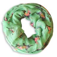 Beautiful Vintage Bird Print Scarf Infinity Loop (Mint)