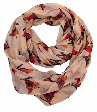Beautiful Vintage Bird Print Scarf Infinity Loop (Peach)