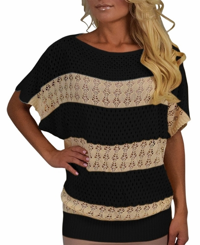 Vintage Bohemian Paradise Crochet Striped Top (Black)