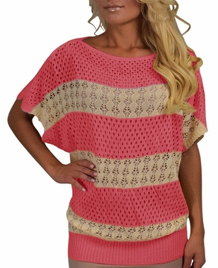 Vintage Bohemian Paradise Crochet Striped Top (Coral)