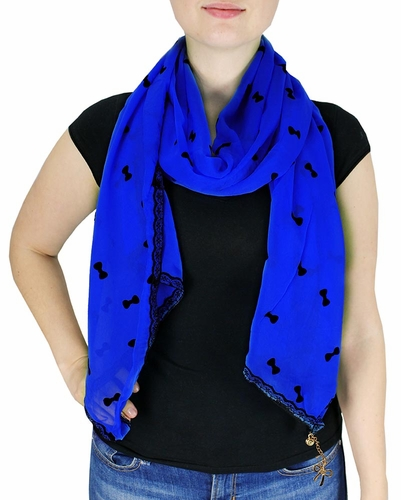 Vintage Bow Embossed Scarf with Jewelry Charm & Lace Border (Dark Blue)