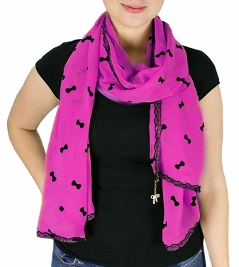 Vintage Bow Embossed Scarf with Jewelry Charm & Lace Border (Fuchsia)