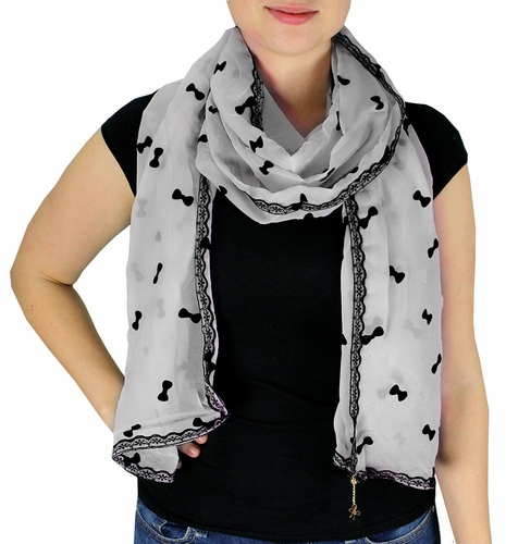 Vintage Bow Embossed Scarf with Jewelry Charm & Lace Border (Grey)