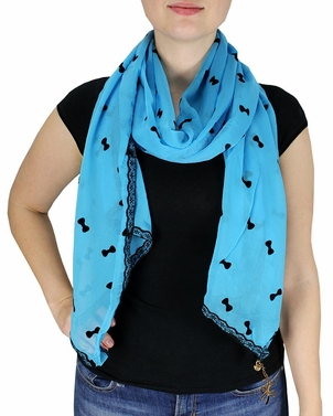 Vintage Bow Embossed Scarf with Jewelry Charm & Lace Border (Sky Blue)