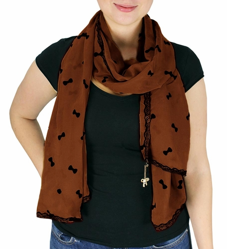 Vintage Bow Embossed Scarf with Jewelry Charm & Lace Border (Brown)