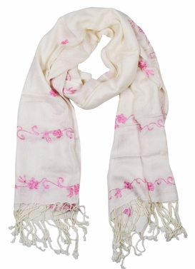 Vintage Floral Hand Embroidered Pashmina Shawl Scarf (White)