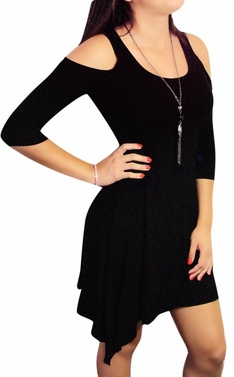 Vintage Inspired 3/4 Slit-Sleeve Mini Dress (Black)