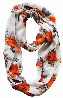 Vintage Inspired Floral Print Infinity Loop (Orange/Black)