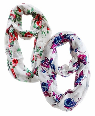 Vintage Inspired Floral Print Scarf (Red Green and Blue Pink)