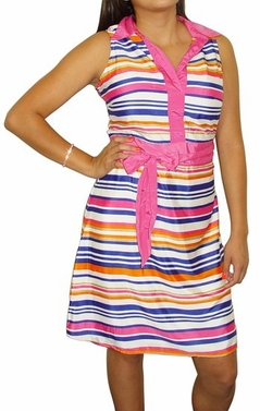 Vintage Inspired Hot Pink Striped Belted Dress (Hot Pink)