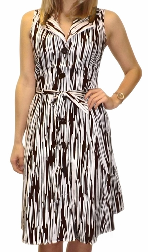 Vintage Inspired Pattern Button Up Shift Dress with Fabric Belt Tie 100% Cotton (Brown Lined)