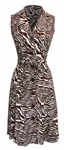 Vintage Inspired Pattern Button Up Shift Dress with Fabric Belt Tie 100% Cotton (Zebra)