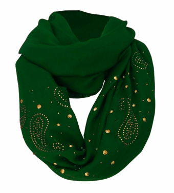 Vintage Simple Paisley Embellished Infinity Loop Circle Scarf (Green)