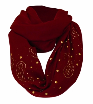 Vintage Simple Paisley Embellished Infinity Loop Circle Scarf (Maroon)