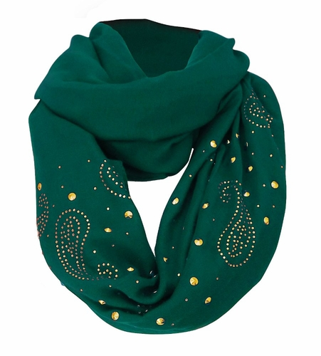 Vintage Simple Paisley Embellished Infinity Loop Circle Scarf (Teal)