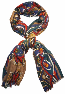Vintage Soft & Silky Feel Floral Paisley Damask Multicolored Scarf (Green/Red/Blue)