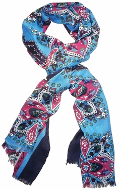 Vintage Soft & Silky Feel Floral Paisley Damask Multicolored Scarf (Light Blue/Magenta)