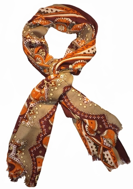 Vintage Soft & Silky Feel Floral Paisley Damask Multicolored Scarf (Olive/Orange)