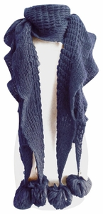 Vintage Style Ruffle Knit Scarf with Poms (Blue)