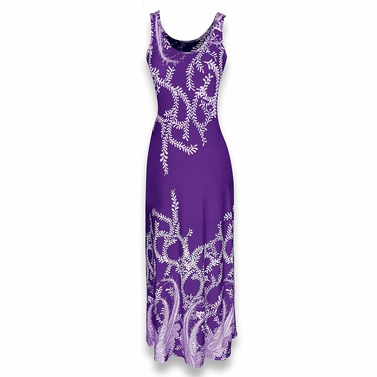 Exclusive Paisley Print Sleeveless Scoop Neck Beach Maxi Dress (Purple)