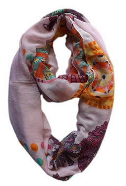 Vivid & Lively Lightweight Paisley Damask Infinity Loop Scarf (Purple)