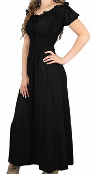 Gypsy Boho Cap Sleeves Smocked Waist Tiered Renaissance Maxi Dress (Black)