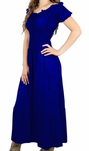 Gypsy Boho Cap Sleeves Smocked Waist Tiered Renaissance Maxi Dress (Blue)