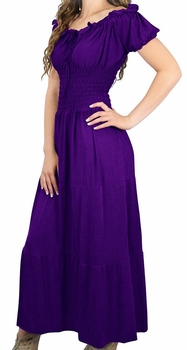 Gypsy Boho Cap Sleeves Smocked Waist Tiered Renaissance Maxi Dress (Purple)