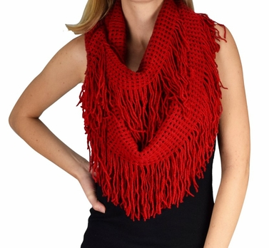 Warm and Soft Fashionable Checkered Fringe Infinity Loop Scarf (Red)
