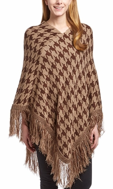 Warm Knit Womens Houndstooth Cape Batwing Fringe Tassels Poncho (Brown)