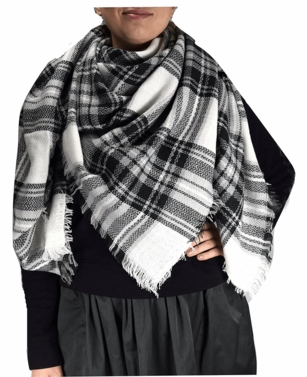 Warm Plaid Woven Oversized Fringe Scarf Blanket Shawl Wrap Poncho (Black White)