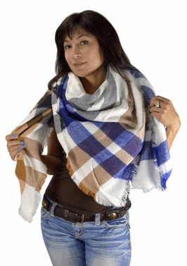 Warm Plaid Woven Oversized Fringe Scarf Blanket Shawl Wrap Poncho (Blue Tan)