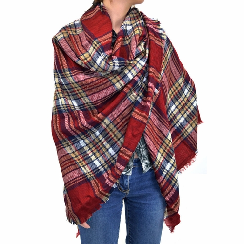 Warm Plaid Woven Oversized Fringe Scarf Blanket Shawl Wrap Poncho (Burgundy)